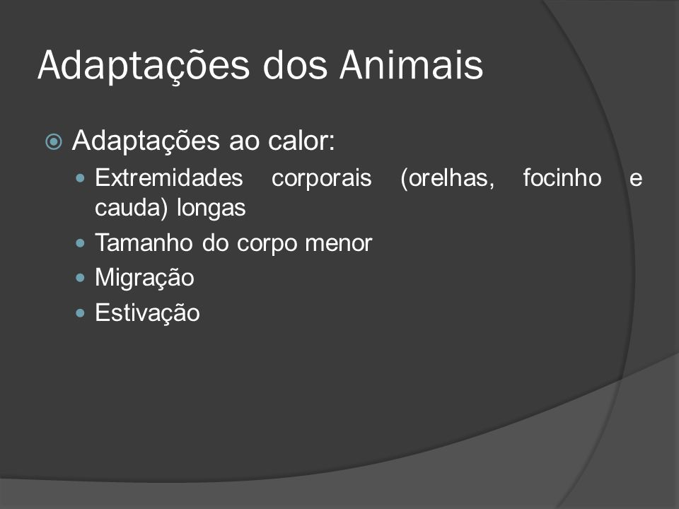 Adaptações dos Animais
