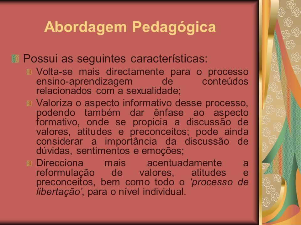 Abordagem Pedagógica Possui as seguintes características: