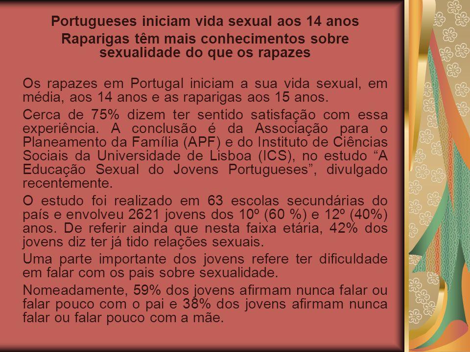 Portugueses iniciam vida sexual aos 14 anos