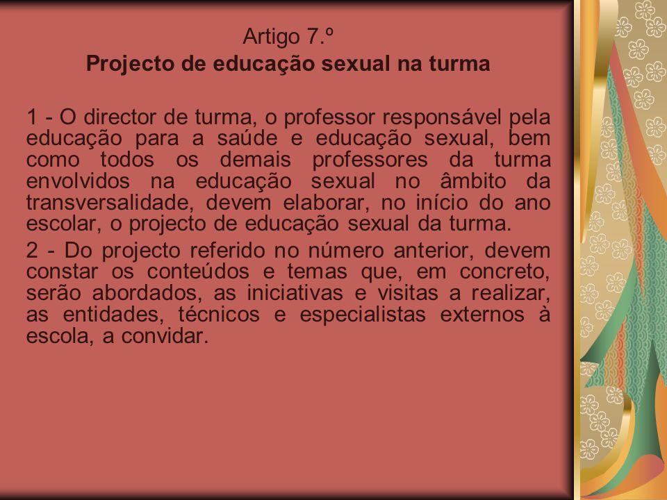 Projecto de educação sexual na turma