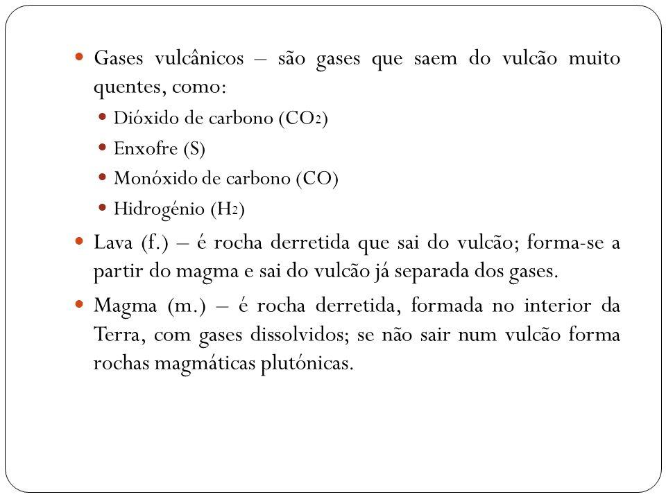 Gases vulcânicos – são gases que saem do vulcão muito quentes, como: