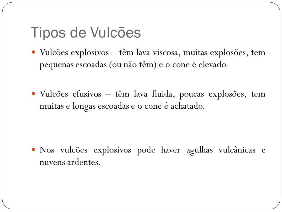 Tipos de Vulcões Vulcões explosivos – têm lava viscosa, muitas explosões, tem pequenas escoadas (ou não têm) e o cone é elevado.