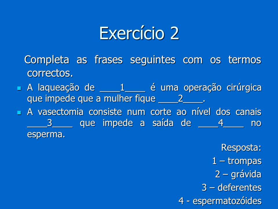 Exercício 2 Completa as frases seguintes com os termos correctos.