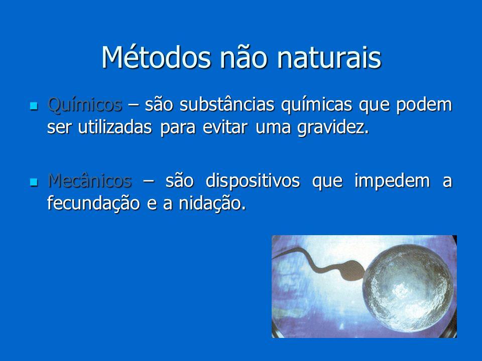 Métodos não naturais Químicos – são substâncias químicas que podem ser utilizadas para evitar uma gravidez.