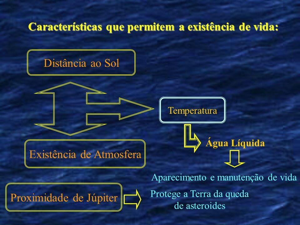 Características que permitem a existência de vida: