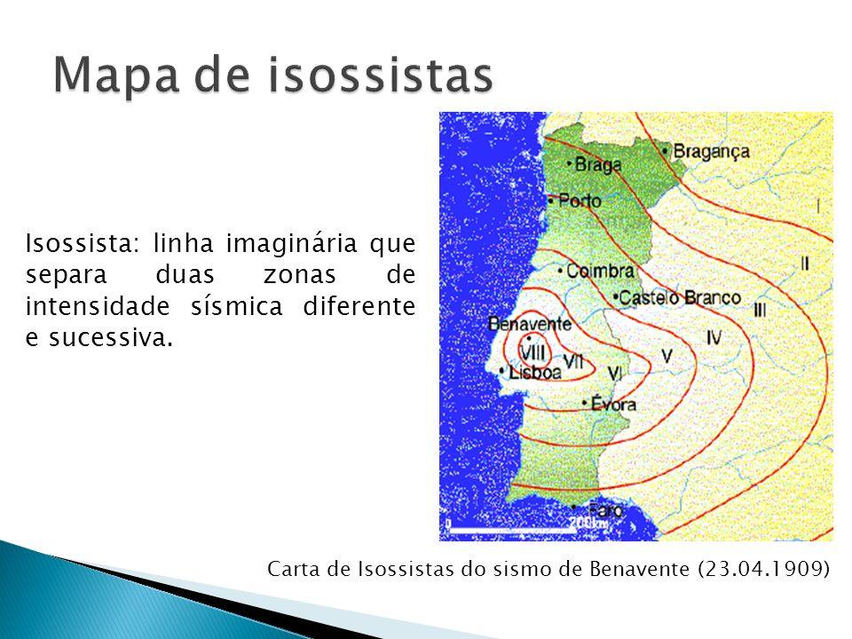 Mapa de isossistas Isossista: linha imaginária que separa duas zonas de intensidade sísmica diferente e sucessiva.