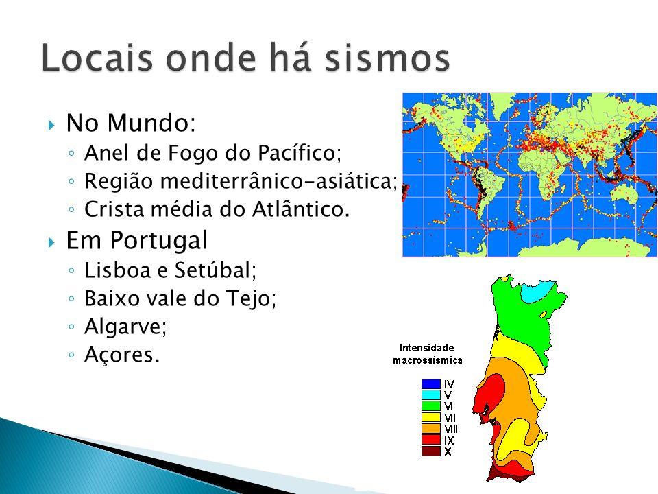 Locais onde há sismos No Mundo: Em Portugal Anel de Fogo do Pacífico;
