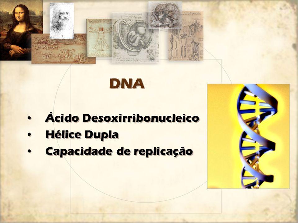 DNA Ácido Desoxirribonucleico Hélice Dupla Capacidade de replicação