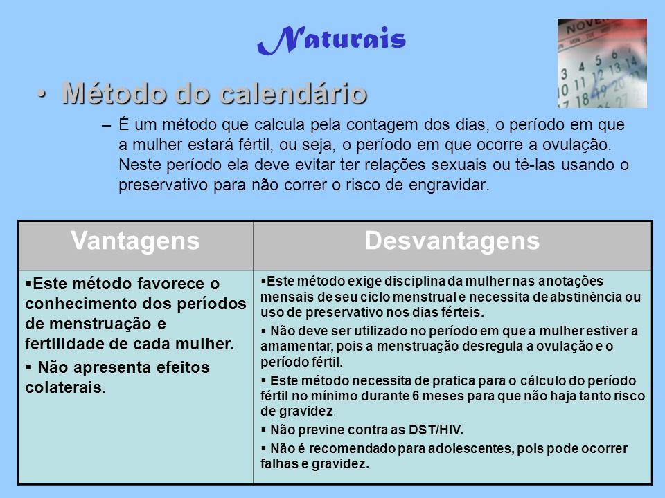 Naturais Método do calendário Vantagens Desvantagens