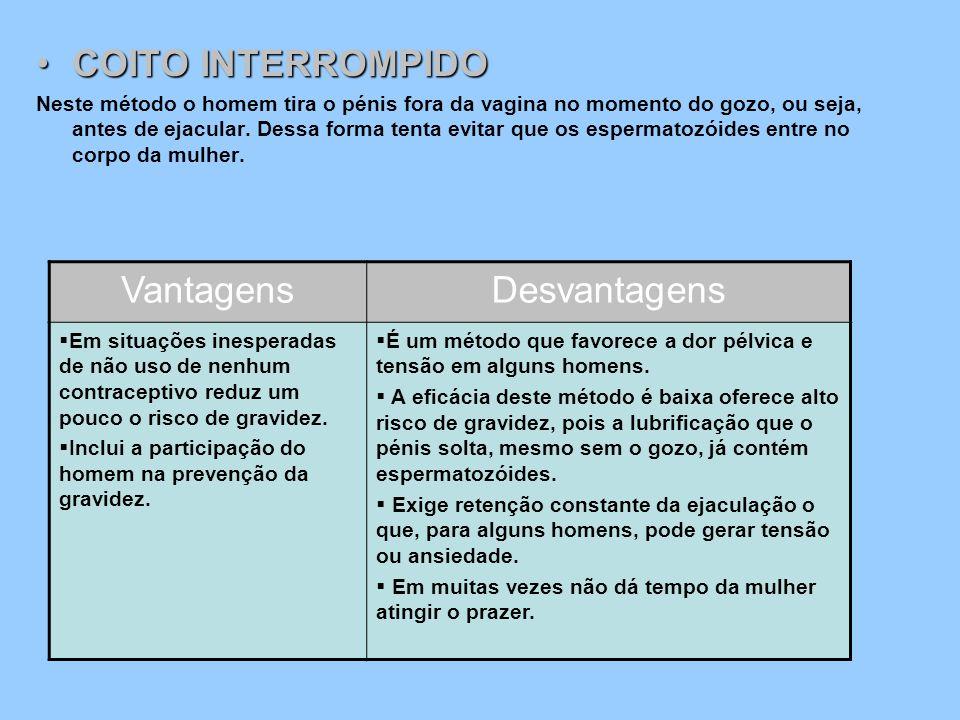 COITO INTERROMPIDO Vantagens Desvantagens