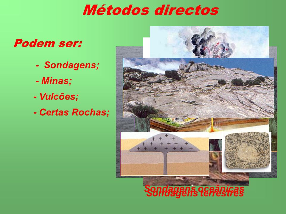 Métodos directos Podem ser: - Sondagens; - Minas; - Vulcões;