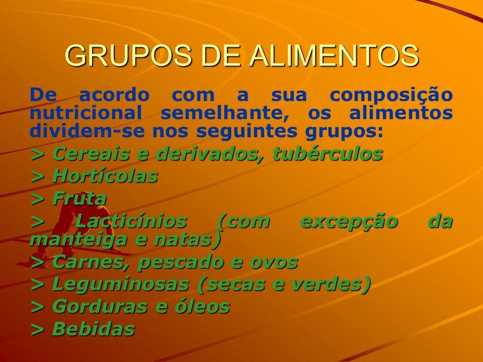 GRUPOS DE ALIMENTOS De acordo com a sua composição nutricional semelhante, os alimentos dividem-se nos seguintes grupos:
