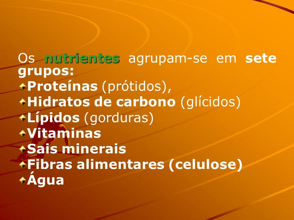 Os nutrientes agrupam-se em sete grupos: