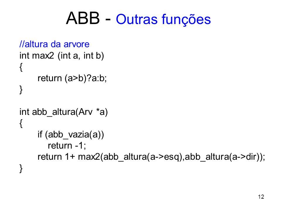 ABB - Outras funções //altura da arvore int max2 (int a, int b) {
