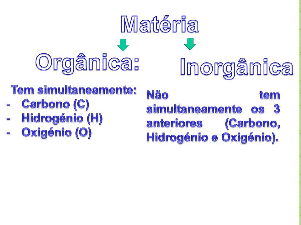 Matéria Orgânica: Inorgânica Tem simultaneamente: