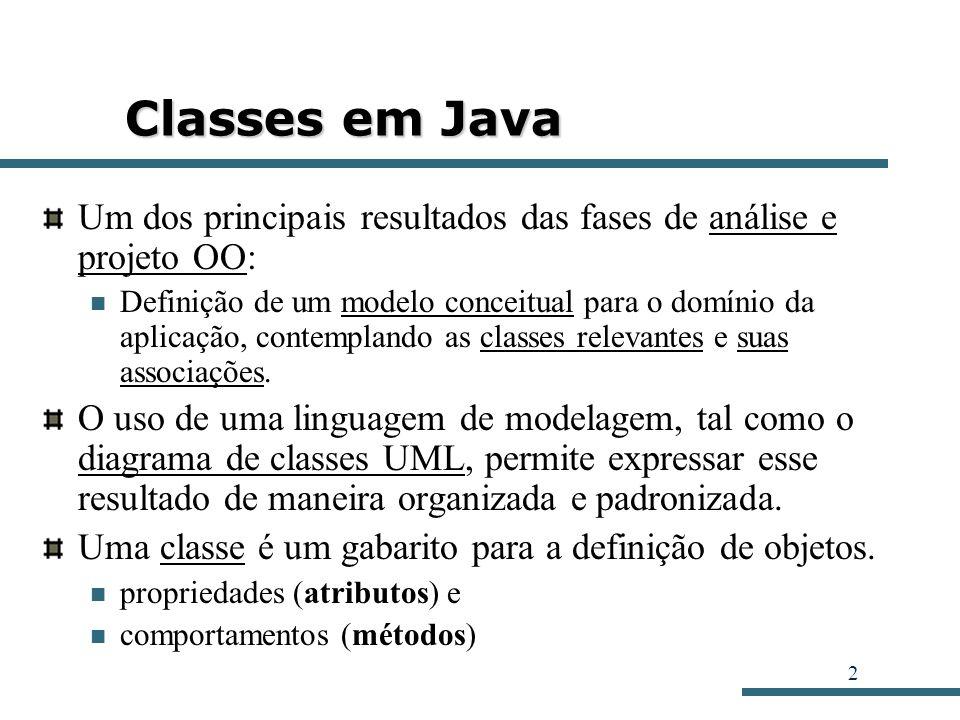 Classes em Java Um dos principais resultados das fases de análise e projeto OO: