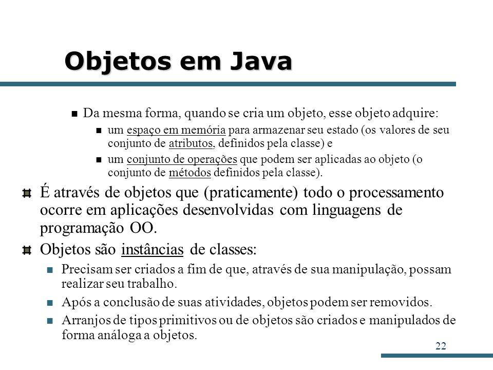 Objetos em Java Da mesma forma, quando se cria um objeto, esse objeto adquire: