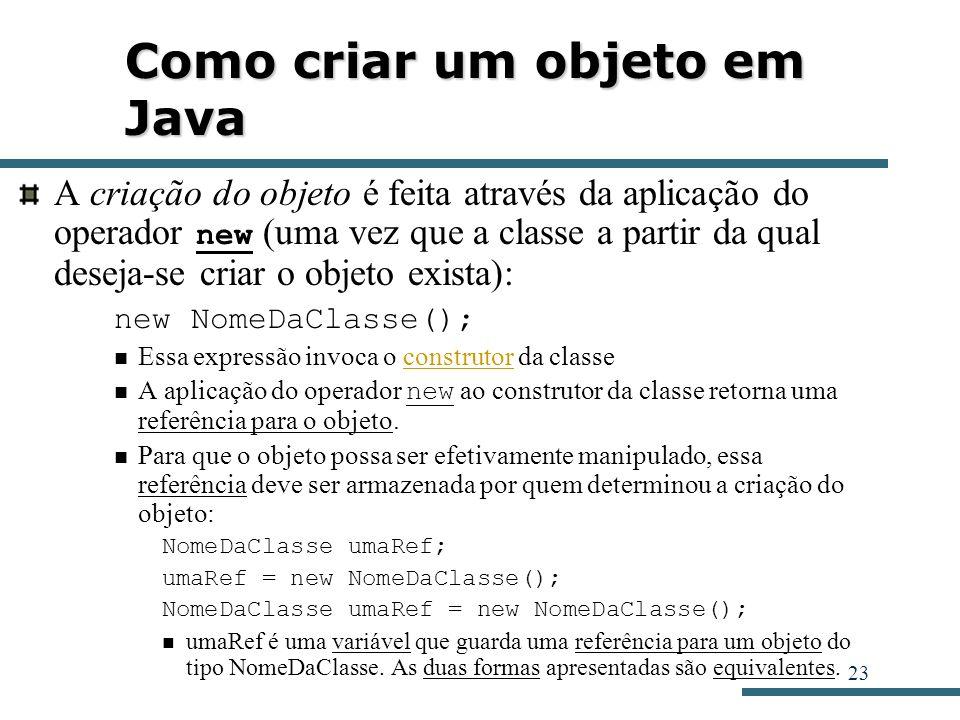 Como criar um objeto em Java