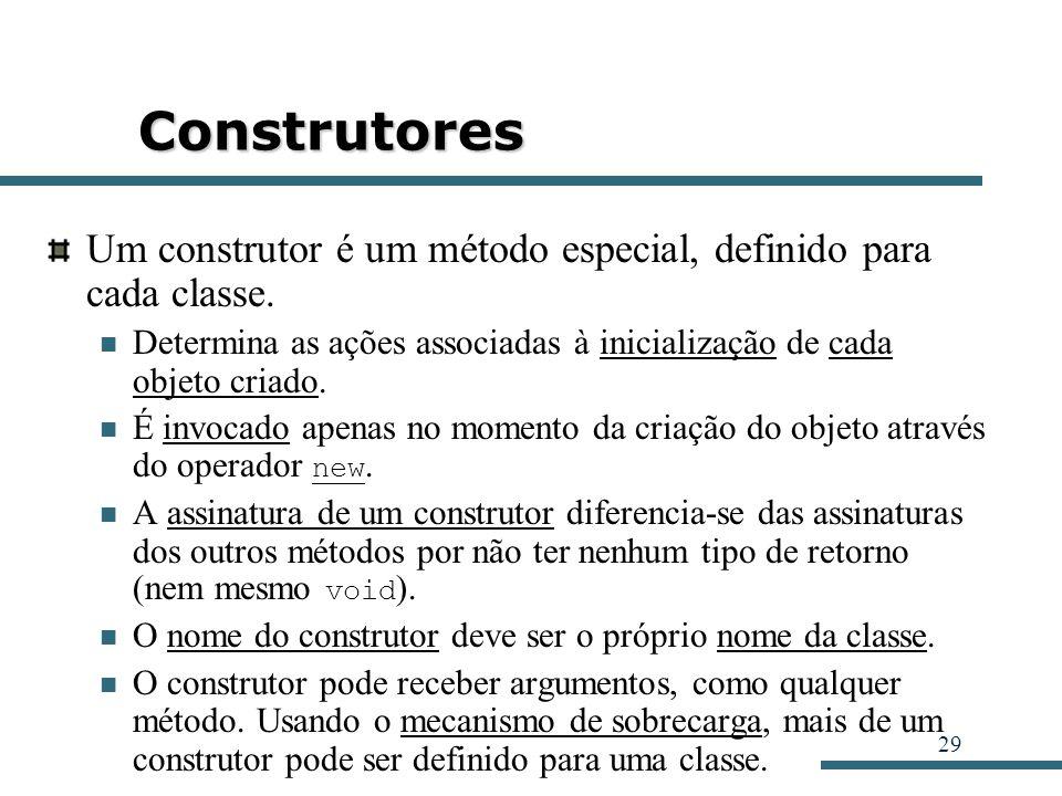 Construtores Um construtor é um método especial, definido para cada classe. Determina as ações associadas à inicialização de cada objeto criado.