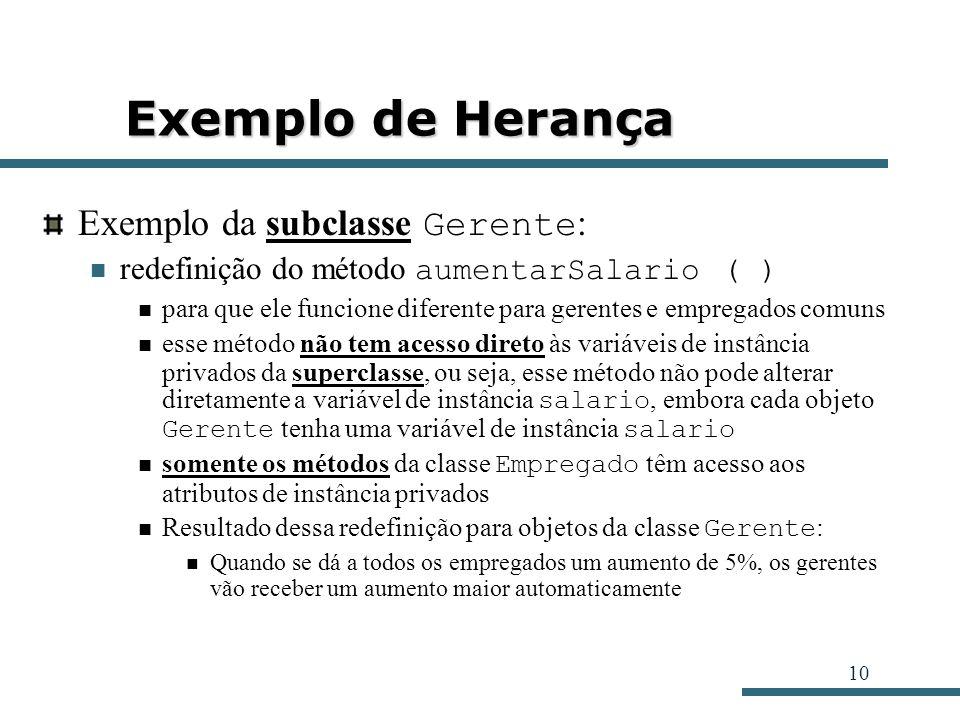 Exemplo de Herança Exemplo da subclasse Gerente: