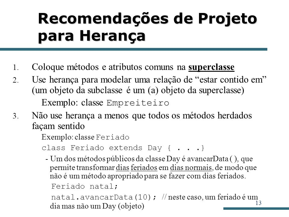 Recomendações de Projeto para Herança