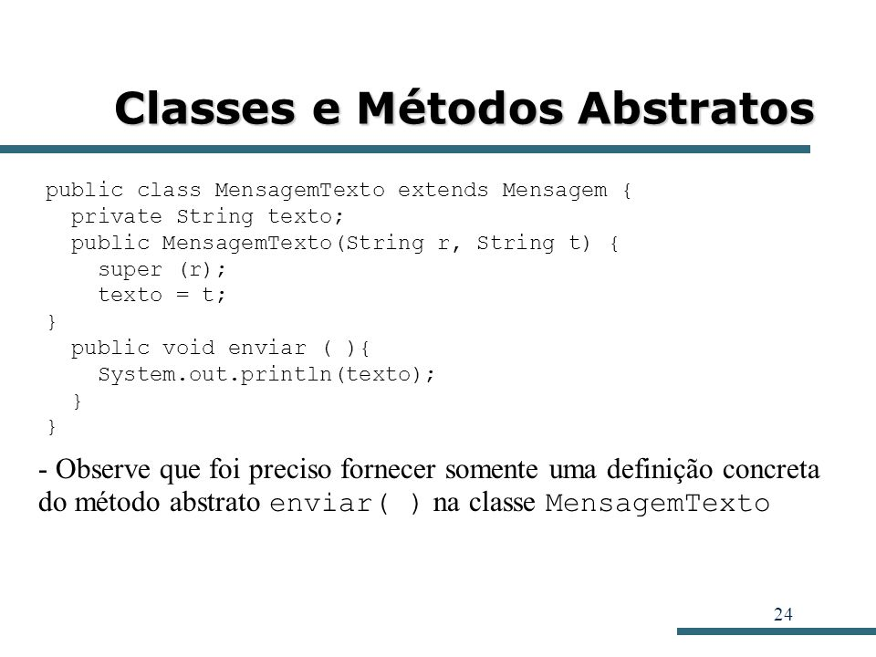 Classes e Métodos Abstratos