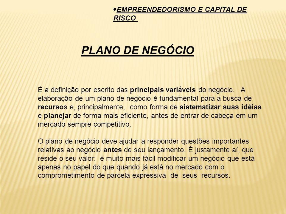 PLANO DE NEGÓCIO EMPREENDEDORISMO E CAPITAL DE RISCO