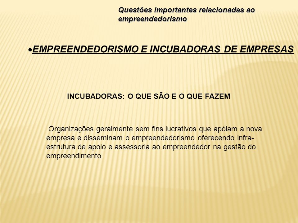 EMPREENDEDORISMO E INCUBADORAS DE EMPRESAS