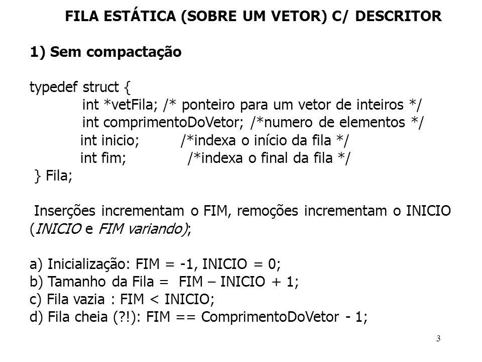 FILA ESTÁTICA (SOBRE UM VETOR) C/ DESCRITOR