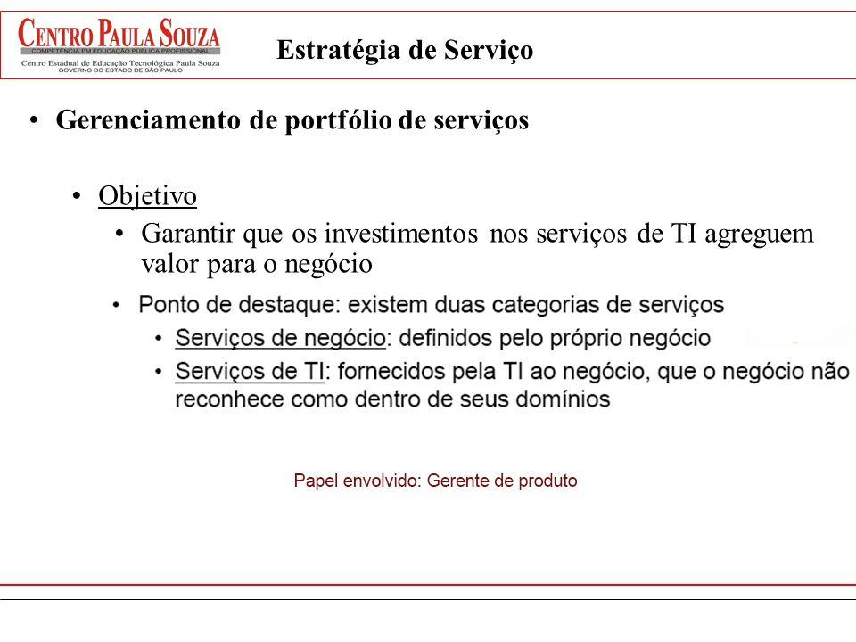 Estratégia de ServiçoGerenciamento de portfólio de serviços. Objetivo.