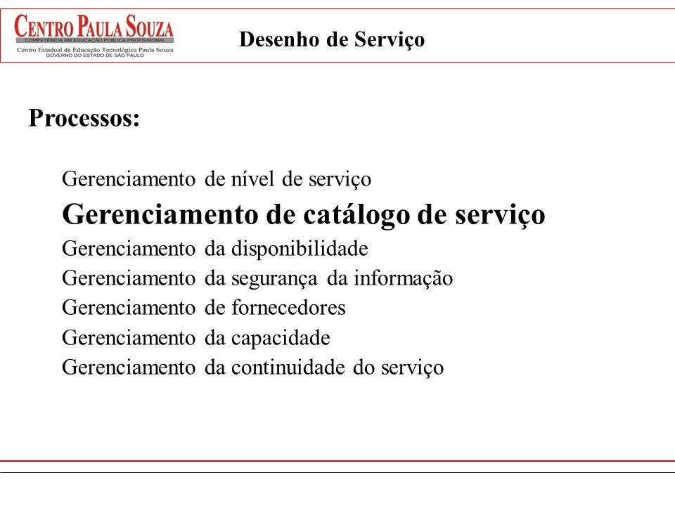 Gerenciamento de catálogo de serviço