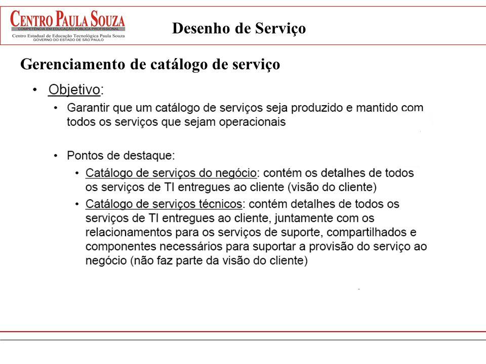 Desenho de Serviço Gerenciamento de catálogo de serviço