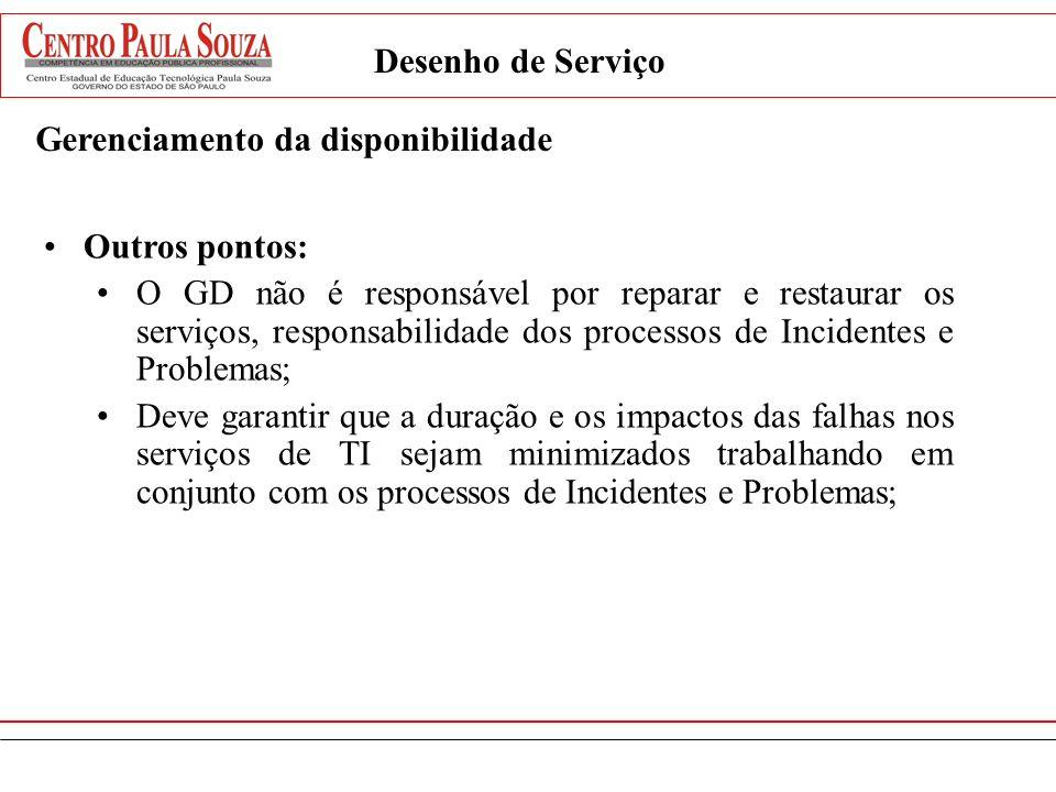 Desenho de Serviço Gerenciamento da disponibilidade. Outros pontos: