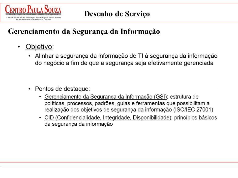 Desenho de Serviço Gerenciamento da Segurança da Informação