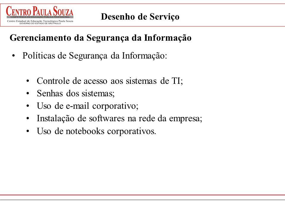 Desenho de ServiçoGerenciamento da Segurança da Informação. Políticas de Segurança da Informação: Controle de acesso aos sistemas de TI;