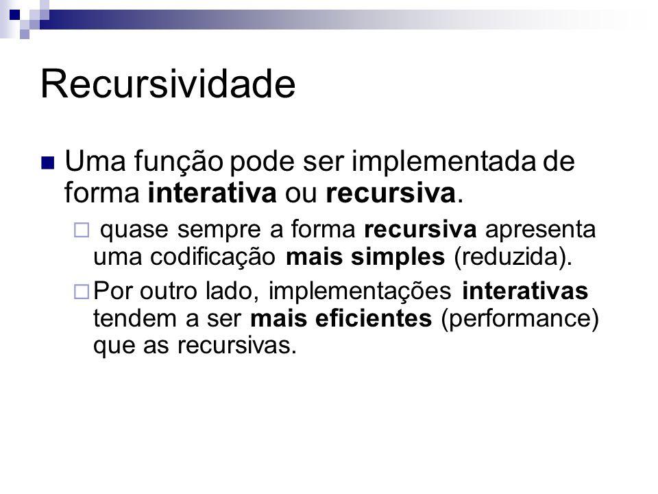 Recursividade Uma função pode ser implementada de forma interativa ou recursiva.