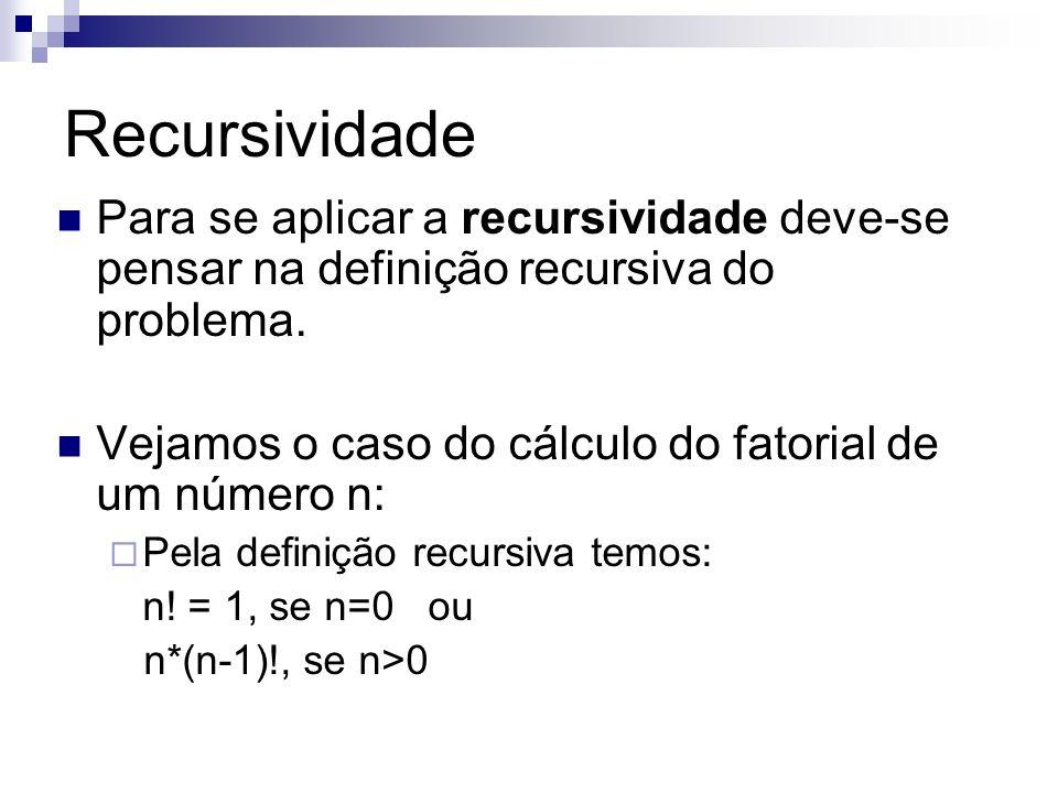 Recursividade Para se aplicar a recursividade deve-se pensar na definição recursiva do problema.