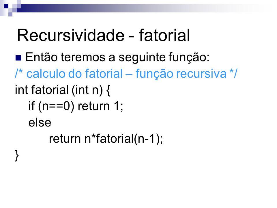 Recursividade - fatorial