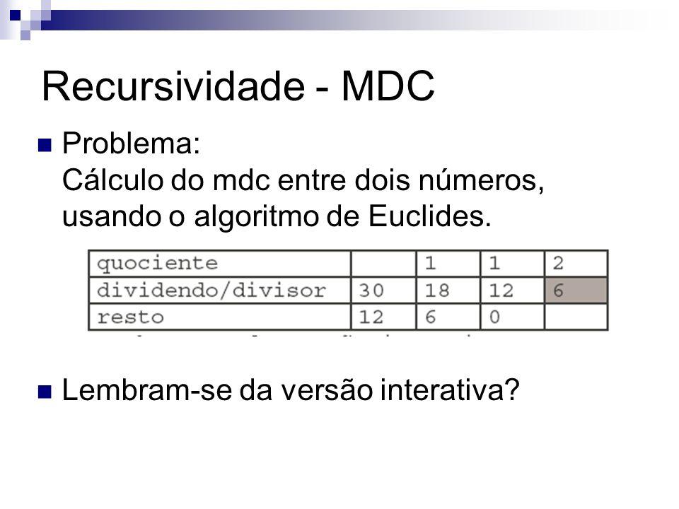 Recursividade - MDC Problema: Cálculo do mdc entre dois números, usando o algoritmo de Euclides.