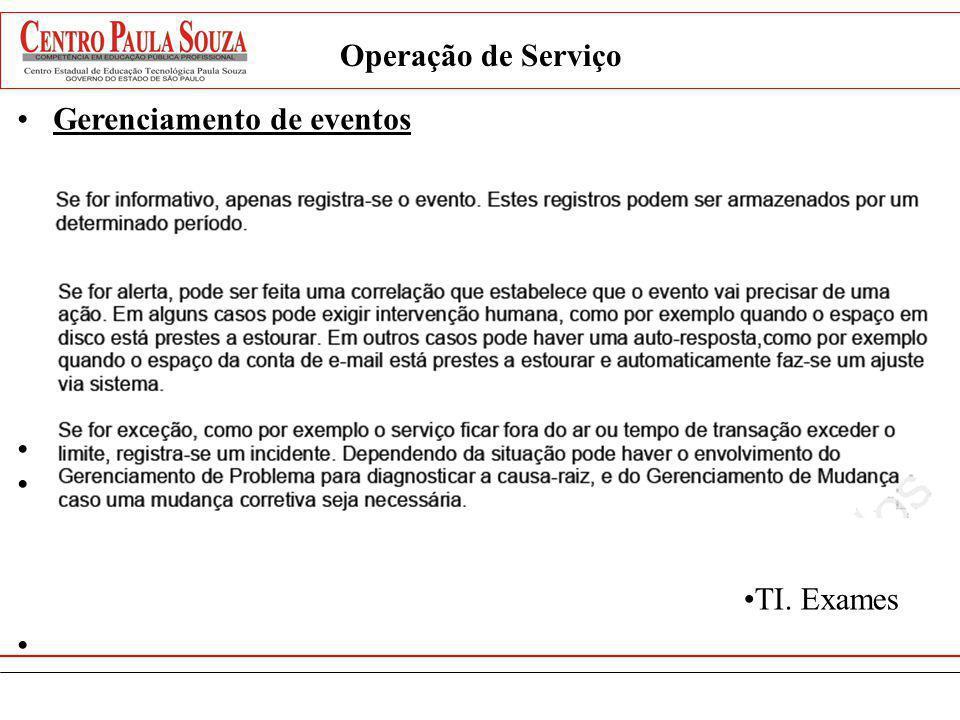 Operação de Serviço Gerenciamento de eventos TI. Exames