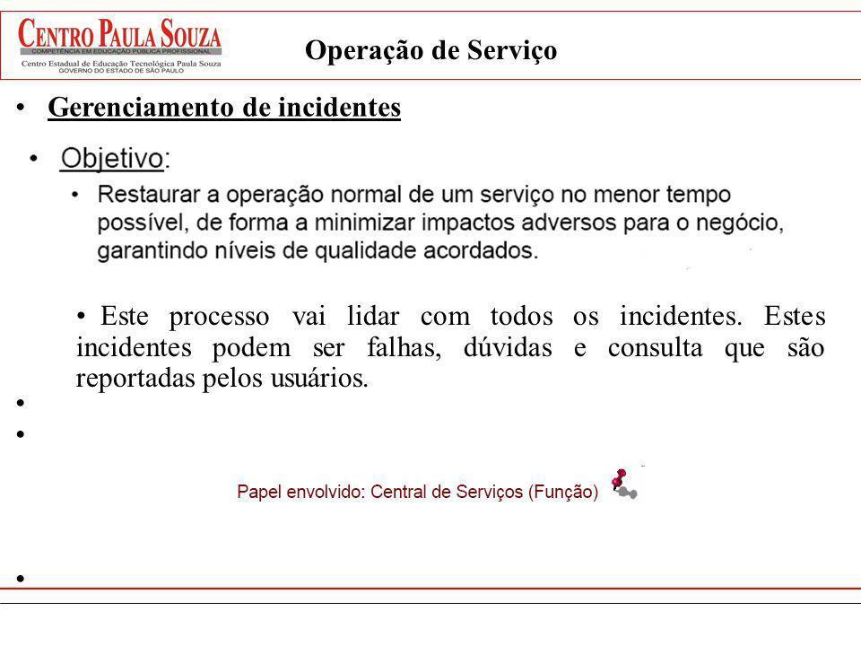 Operação de ServiçoGerenciamento de incidentes.