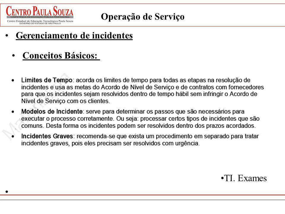 Operação de Serviço Gerenciamento de incidentes Conceitos Básicos: TI. Exames