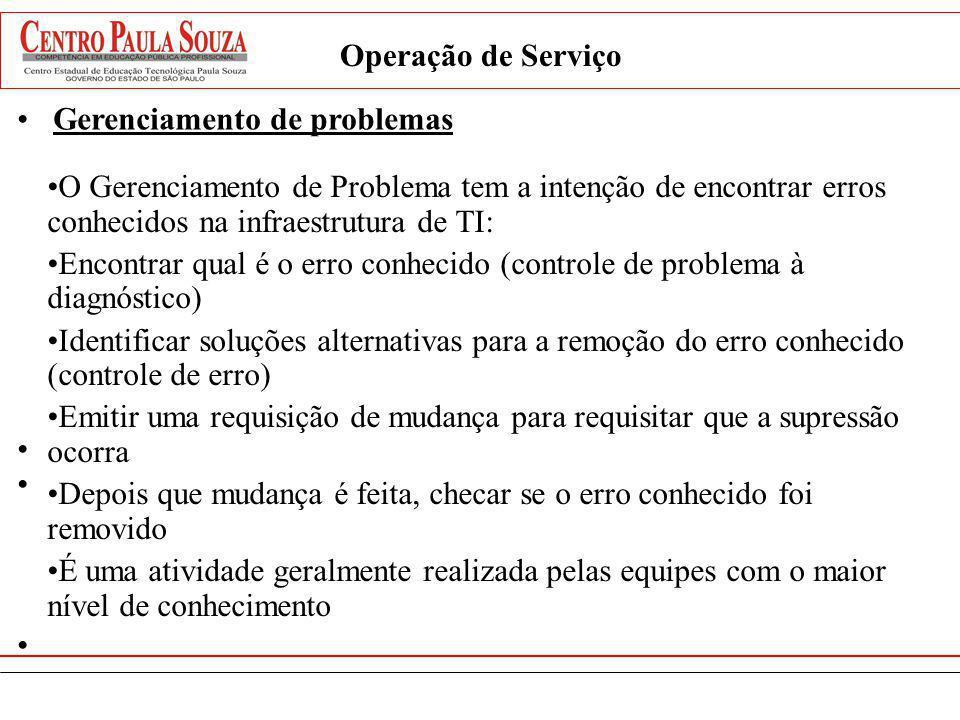 Operação de Serviço Gerenciamento de problemas. O Gerenciamento de Problema tem a intenção de encontrar erros conhecidos na infraestrutura de TI: