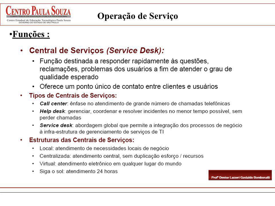 Operação de Serviço Funções :