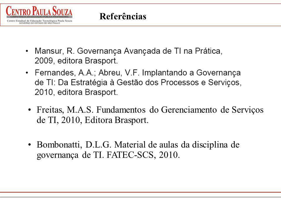 Referências Freitas, M.A.S. Fundamentos do Gerenciamento de Serviços de TI, 2010, Editora Brasport.