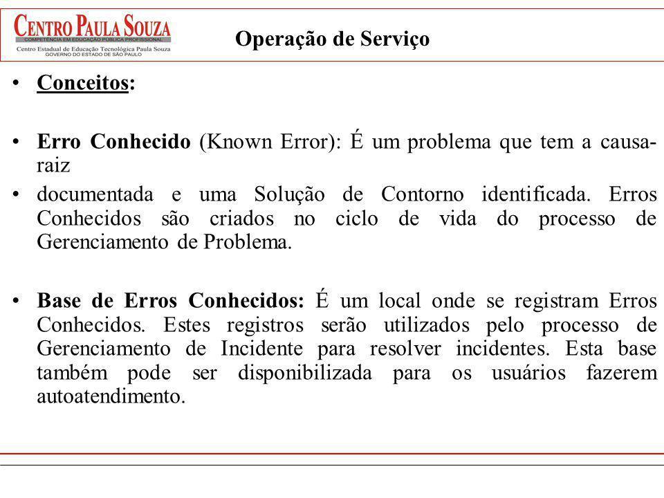 Operação de ServiçoConceitos: Erro Conhecido (Known Error): É um problema que tem a causa-raiz.