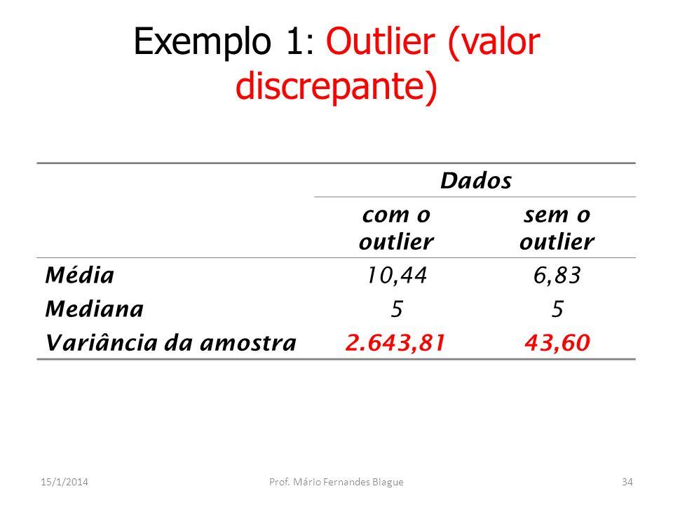 Exemplo 1: Outlier (valor discrepante)
