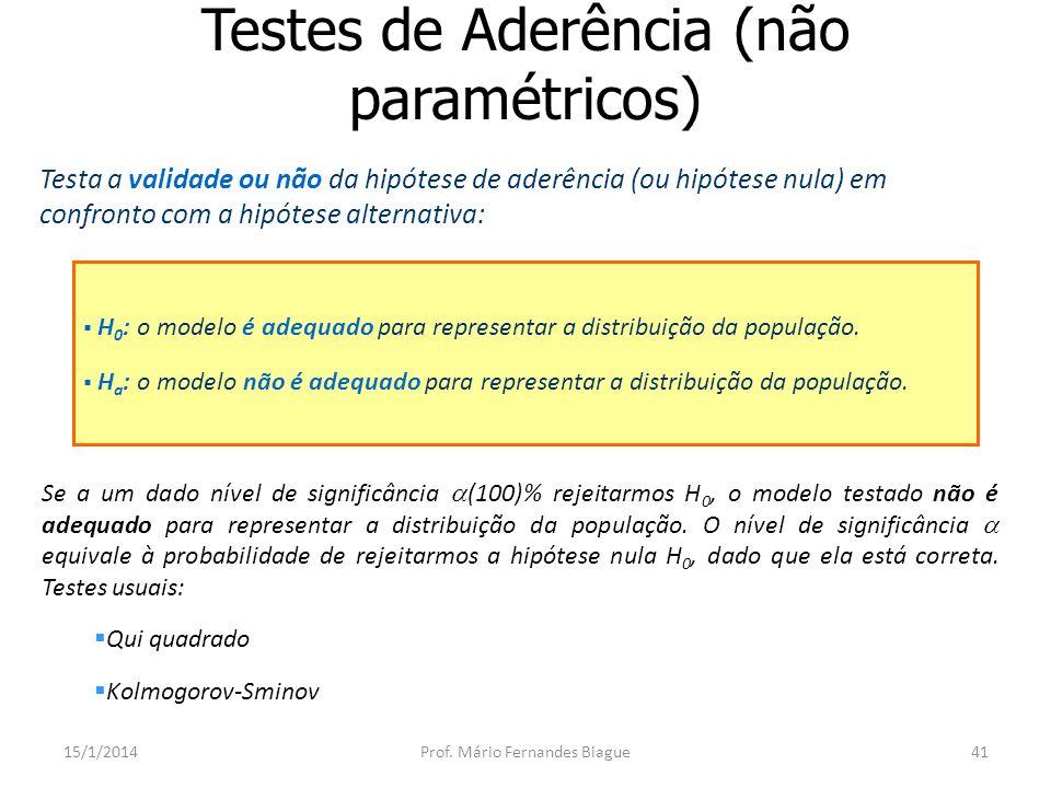 Testes de Aderência (não paramétricos)