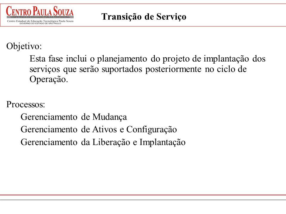 Transição de Serviço Objetivo: