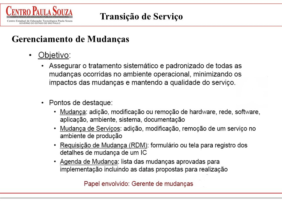 Transição de Serviço Gerenciamento de Mudanças